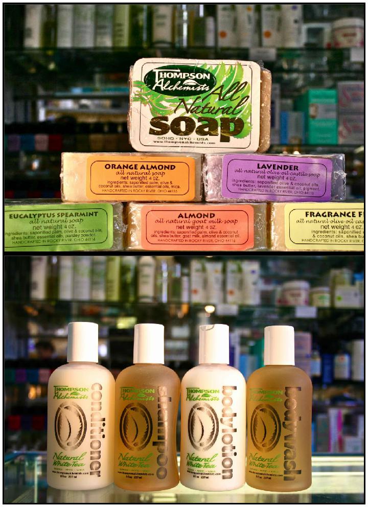 Thompson Alchemists Brand soap shampoo lotion conditioner