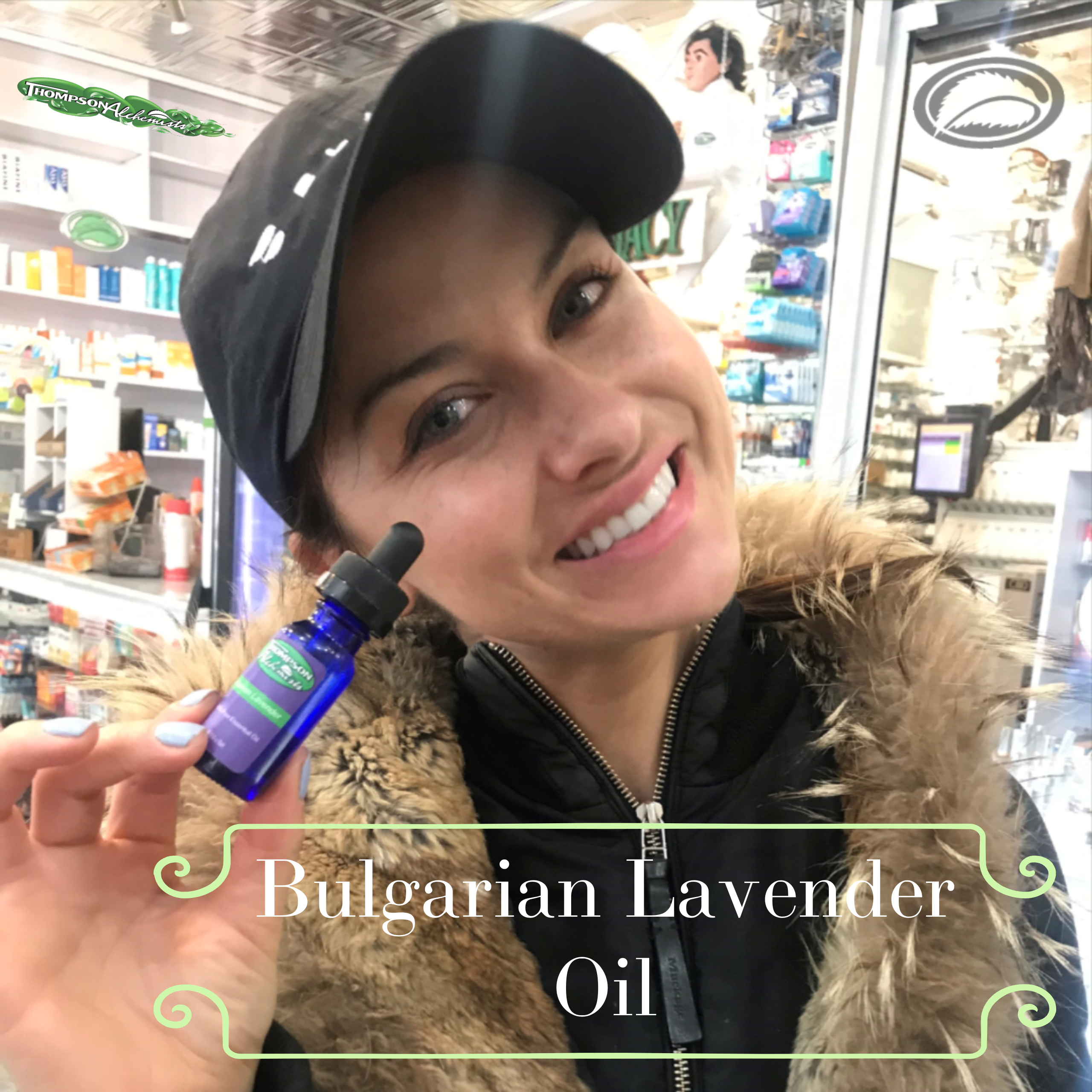 Thompson Alchemists Bulgarian lavender essential oil being held by thompson chemists customer in soho nyc store.