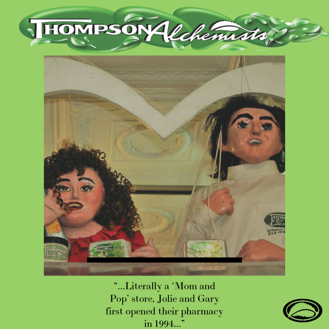 Cartoon puppet versions of owners of Thompson Chemists, Gary Alony and Jolie Alony, Husband and wife owners of mom and pop shop. Thompson Alchemists. Small business NYC